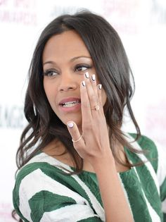 One I love Zoe Saldana, two I love this short style. with the black outline and the lighter color its different. Nail Art for Short Nails; Manis for Small Nails Nail Swag, White Nail Polish, White Nails, White Manicure, Ncla Nail Wraps, Beauty Nails, Hair Beauty, French Tip Nail Art, Celebrity Nails