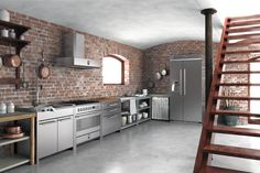 The Stainless Steel Freestanding Kitchen Units Stainless Steel Kitchen Unit Home Design Interior And Ext contemporary elegant design small decorating house interior design apartment decoration large room pictures wallpaper hd Exposed Brick Kitchen, Brick Wall Kitchen, Kitchen Wall Cabinets, Rustic Cabinets, Kitchen Units, Kitchen Layout, New Kitchen, Kitchen Ideas, Kitchen Furniture