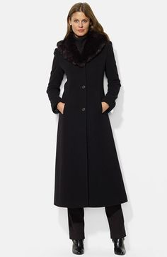 Lauren Ralph Lauren Lauren Ralph Lauren Faux Fur Shawl Collar Long Wool Blend Coat (Online Only) available at #Nordstrom