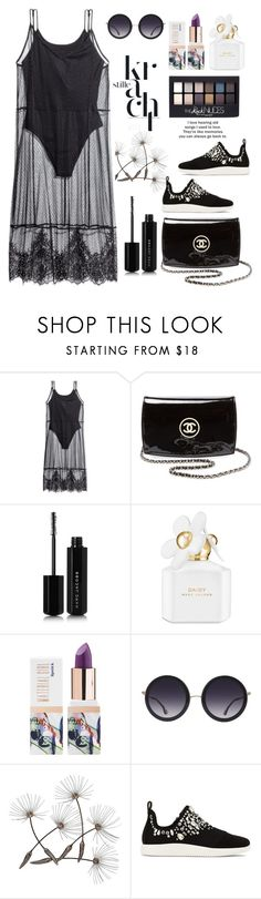 """My Style"" by felicitysparks ❤ liked on Polyvore featuring H&M, Chanel, Marc Jacobs, Maybelline, Teeez, Alice + Olivia and Giuseppe Zanotti"