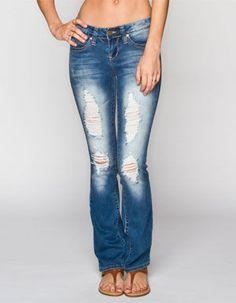 YMI Wanna Betta Butt Womens Destructed Bootcut Jeans