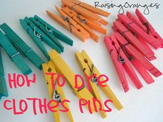 The food coloring pins {yellow, orange, and red} were made by mixing water and vinegar and food coloring in a pot. I then poured the warm mixture over the clothes pins that were laid out on various bowls. Make sure they're completely submerged.