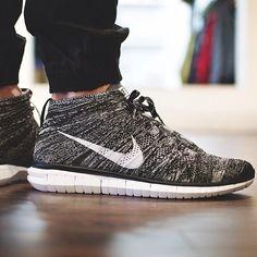 "Nike Free Flyknit Chukka ""Black, Grey, White"" #nike #sneakers"