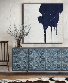 Hand-painted Navy blue and White Abstract Painting on canvas, minimalist art #NV11A by CZ Art Design @CelineZiangArt