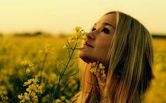 Девушка, поле, цветы, трава, закат