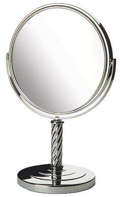Jerdon Reversible 5x/1x Vanity Makeup Mirror in Chrome, Nickel, or Bronze Makeup Mirrors   seattleluxe.com