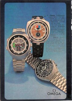 Vintage Omega ad featuring the Bullhead, Flightmaster, and Speedmaster MkII