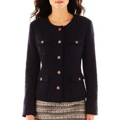 Liz Claiborne Button-Front Tweed Military Jacket ($45) ❤ liked on Polyvore