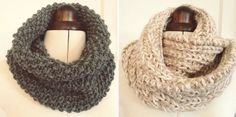 simple snoods - by hand london - free knitting patterns 300g super chunky weight yarn (we like Toft or Rowan's Big Wool