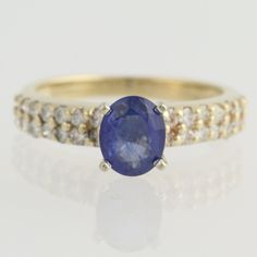 Engagement Ring Sapphire and Diamond - 14k Yellow Gold 5 3/4 - 6 Genuine 1.42ctw Unique Engagement Ring L7071