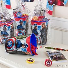 Reward your heroes with a reusable plastic Avengers Favor Cup filled with officially licensed Avengers party favors!