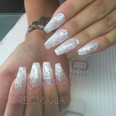 Glitter long coffin nails sparkly acrylic nails, w Acrylic Nails Coffin Glitter, White Coffin Nails, Simple Acrylic Nails, Coffin Nails Long, Simple Nails, Long Nails, Clear Acrylic, Sparkly Nails, Prom Nails