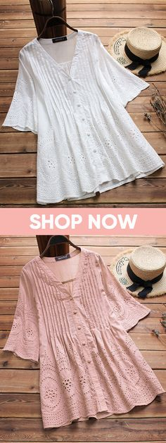 47% OFF! Embroidered Hollow Solid Color Half Sleeve Vintage Blouses. Gracila brand from NEWCHIC. US size 8 to 20.