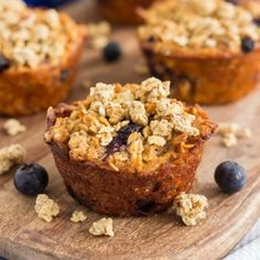 These Blueberry Granola Oatmeal Muffins are packed with hearty oats, fresh blueberries, and topped with sweet granola!