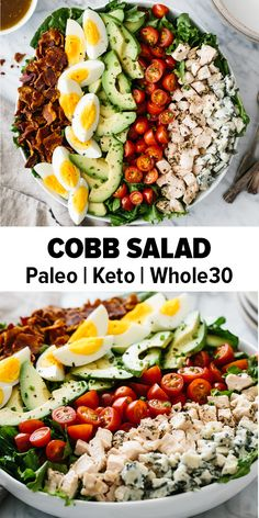 Cobb salad is a classic American salad with chicken bacon hard boiled eggs tomatoes avocado lettuce and blue cheese. Im such a fan of this salad as its easy wholesome healthy and filling. It's also paleo keto low carb and friendly. Chicken Salad Recipes, Healthy Salad Recipes, Diet Recipes, Tuna Recipes, Dinner Salad Recipes, Pizza Recipes, Smoothie Recipes, Cake Recipes, Paleo Keto Recipes