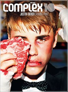 Justin Bieber  Complex magazine  Imagery: One Eye symbolism, physical trauma (used in mind control programming sessions)