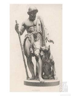Odysseus is Recognised by His Dog Argos Giclee Print by Robert Brown at eu.art.com