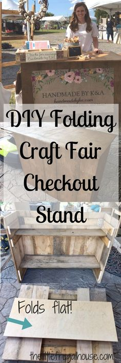 See how I built a DIY Folding Craft Fair Checkout Stand with scrap wood and 0 Ring up customers and package gifts on your own checkout station Craft Fair Displays, Craft Show Booths, Vendor Displays, Vendor Booth, Market Displays, Craft Show Ideas, Display Ideas, Display Design, Displays For Craft Shows