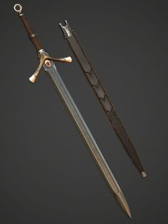 A sword of my own design, intended to be worn by a dragon rider. Fantasy Sword, Fantasy Armor, Fantasy Weapons, Medieval Fantasy, Cool Swords, Sword Design, Anime Weapons, Medieval Weapons, Weapon Concept Art