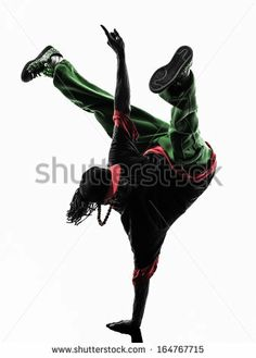 one hip hop acrobatic break dancer breakdancing young man handstand silhouette white background by ostill, via Shutterstock