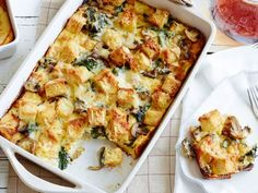 Spinach, Mushroom and Cheese Casserole: This hearty meatless breakfast casserole is a great way to use up stale bread. The cubes on top bake into a delicious crunchy crust that just might be the best part! The whole thing can be assembled the night before and popped into the oven in the morning.