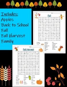 5 Fall Non-Holiday Word Searches! by Schooling Anywhere | TpT