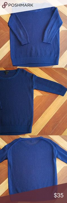 J Crew Open Knit Sweater J Crew Open Knit Sweater. Medium weight, not too heavy or light. No pulls or wear, excellent condition. Color hard to capture, deep royal blue. J. Crew Sweaters Crew & Scoop Necks