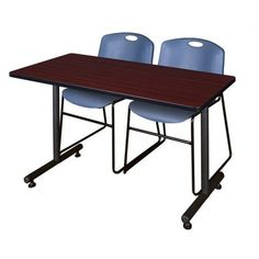 Kobe 48 inch x 24 inch Mahogany Mobile Training Table and 2 Zeng Stack Chairs, Multiple Colors, Blue