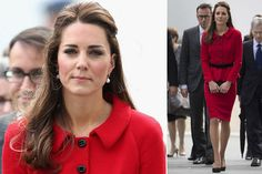 Catherine, Duchess of Cambridge tour Australia/New Zealand Day-8 on April 14, 2014 in Christchurch. It's a red day for Kate with this pillar box red Luisa Spagnoli suit