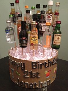21st Birthday gift basket of drinks (shots)