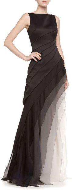 Halston Heritage Sleeveless Ombre Tiered Gown   jαɢlαdy