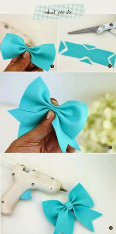new ideas baby diy sewing homemade gifts children Ribbon Crafts, Felt Crafts, Diy Crafts, Ribbon Diy, Diy Bebe, Felt Bows, Diy Couture, Diy Hair Bows, Ribbon Hair Bows