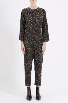 Photo 3 of Falling Leaf Print Silk Jumpsuit by Boutique