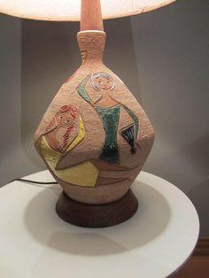 Vintage Mid Century Modern Lamp Italian Art Pottery Fratelli Fanciullacci Italy
