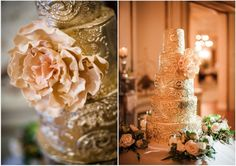 Strikingly Elegant Gold Wedding Cake - MODwedding