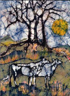 Holstein Cows in Autumn Mountains - Batik - original painting. Via Etsy  PINNED by My Art y Lezama