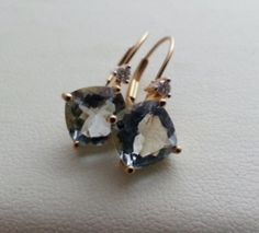 4 ct aquamarine earrings in 14k solid gold, with diamond accents