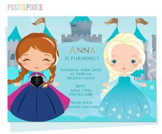 Disney Frozen Invitation Olaf Ana Elsa Birthday by PastelPixies