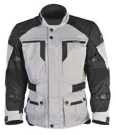 Urban Motorcycle Touring Jacket Silver Black XXX Large