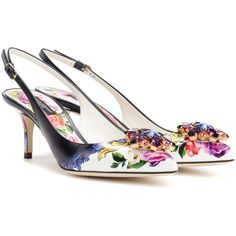 Dolce & Gabbana Leather Slingback Pumps ($955) ❤ liked on Polyvore featuring shoes, pumps, multicoloured, multicolor shoes, dolce gabbana shoes, leather slingbacks, colorful shoes and colorful pumps