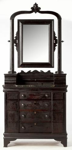 Impressive Thomas Day Dressing Chest, NC with mirror, mid-19th century. Thomas Day, a master cabinet maker and skilled artisan and architectural woodworker, was a free man of color living in North Carolina during the pre-Civil War era.