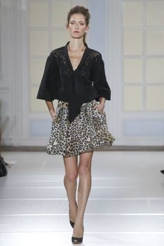 Temperley London Spring Summer Ready To Wear 2014...This top in leather with embellishments or laser cuts would be pretty. Change the color & skirt shape to fit your style.