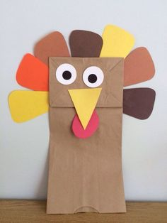 This paper bag turkey puppet is a simple Thanksgiving craft for young children.
