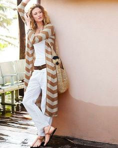 Create an easy, breezy summer look with our linen pants, cami and a dramatic chevron duster.