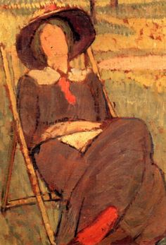 Virginia Woolf in a Deckchair, Vanessa Bell (née Stephen; 30 May 1879 – 7 April English painter and interior designer, member of the Bloomsbury group, and the sister of Virginia Woolf. Vanessa Bell, Virginia Woolf, Duncan Grant, People Reading, People Sitting, Hippie Garden, Bloomsbury Group, Painting & Drawing, Body Drawing