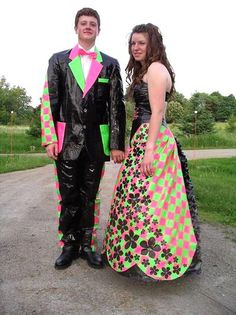worst prom photos: One final duct tape prom dress Worst Prom Dresses, Prom Dress Fails, Prom Outfits, Ugly Dresses, Long Dresses, Awkward Prom Photos, Prom Pictures, Prom Pics, Funny Pictures