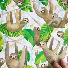 It's getting there, folks! I'm going to add some details with a grey pen, which hopefully will be the finishing touches this piece needs! Then, out of my book and into a frame... . #illustration #illustratoratlarge #makingitupasigo #kopplins #sloth #sloths #watercolor #workinprogress #painting #handbookwatercolorjournal #graphitepen