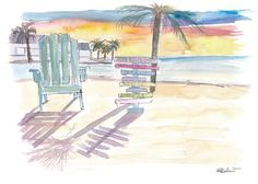 """Saatchi Art is pleased to offer the painting, """"Southernmost Beach Key West Morning Glory,"""" by M Bleichner, available for purchase at $249 USD. Original Painting: Watercolor on Paper. Size is 7.9 H x 11.4 W x 0.4 in. Cool Artwork, Canvas Artwork, Canvas Art Prints, Key West Beaches, Key West Style, Original Paintings For Sale, Original Artwork, Retro Poster, Impressionism Art"""
