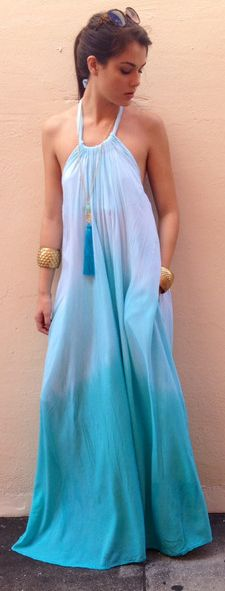 Ombre Blue Halter Dress