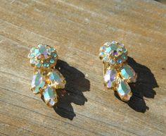Vintage 1950's Aurora Borealis Rhinestone Crystal by Calessabay, $14.95